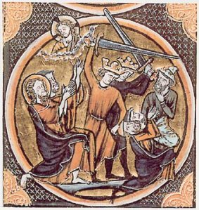 Massacre of Jews during the First Crusade, from an illuminated French Bible. Source: Wikimedia Commons.