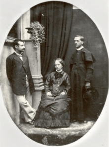 R-L: Edgardo Mortara, mother Marianna, and unidentified brother, c. 1880. Source: Wikimedia Commons.