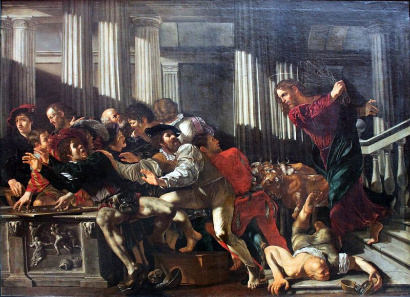 Christ Expels the Moneychangers from the Temple, Cecco del Caravaggio, 1610. Source: Wikimedia Commons