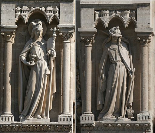 Representation of Church and Synagogue from the 14th century Cathedral of Notre Dame, Paris. Note the upright staff of the crowned Church, contrasted with the broken, bareheaded Synagogue. Church holds the Holy Grail whereas Synagogue is slowly releasing the tablets of the Law. Most significantly, Church's eyes are open , while Synagogue's eyes are blinded by an ominous snake wrapped around her head. Source: Wikimedia Commons.