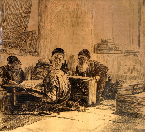 Ephraim Moses Lilian, The Talmud Students (1915). Source: Wikimedia Commons.