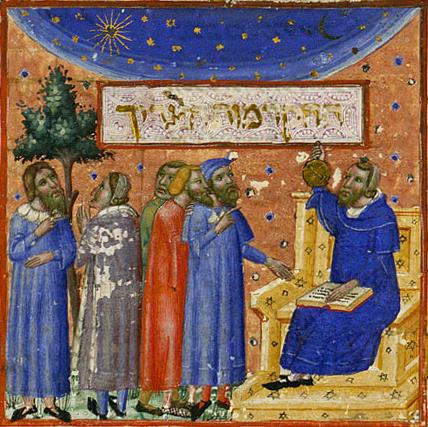 Maimonides teaching, 14th c. Source: Wikimedia Commons.