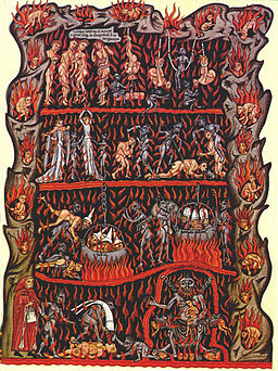 12th c. Depiction of Hell by Herrad of Landsberg. Note demons throwing Jews (with conical hats) into boiling vats, lower left. Via Wikimedia Commons.