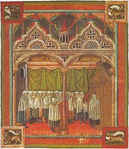 Jews in Synagogue, 15th c. Mantua, Italy.  (Codex Rossianus 555, fol. 12v) [Public domain], via Wikimedia Commons
