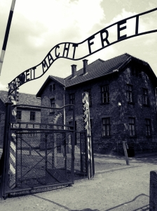 Entrance to Auschwitz. Photo by Petar Milosevic via Wikimedia Commons.